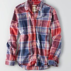 Blue and red plaid button down shirt/flannel!